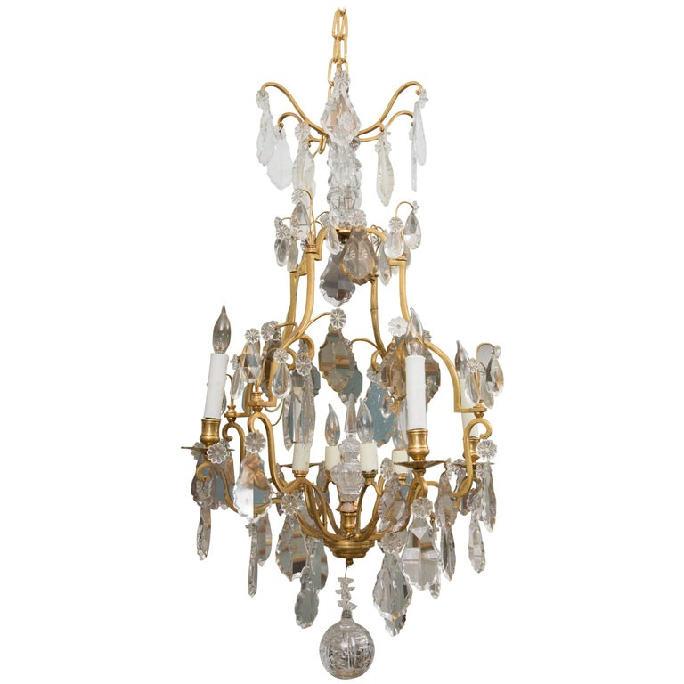 French Gilt Metal Chandelier with Crystal Drops For Sale