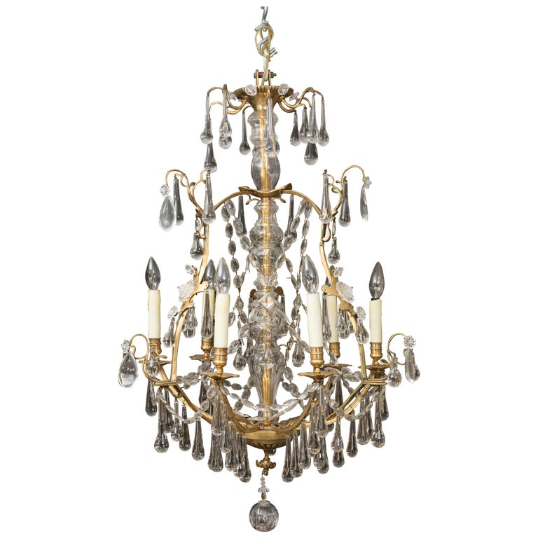 French Birdcage Chandelier with Crystal Drops For Sale