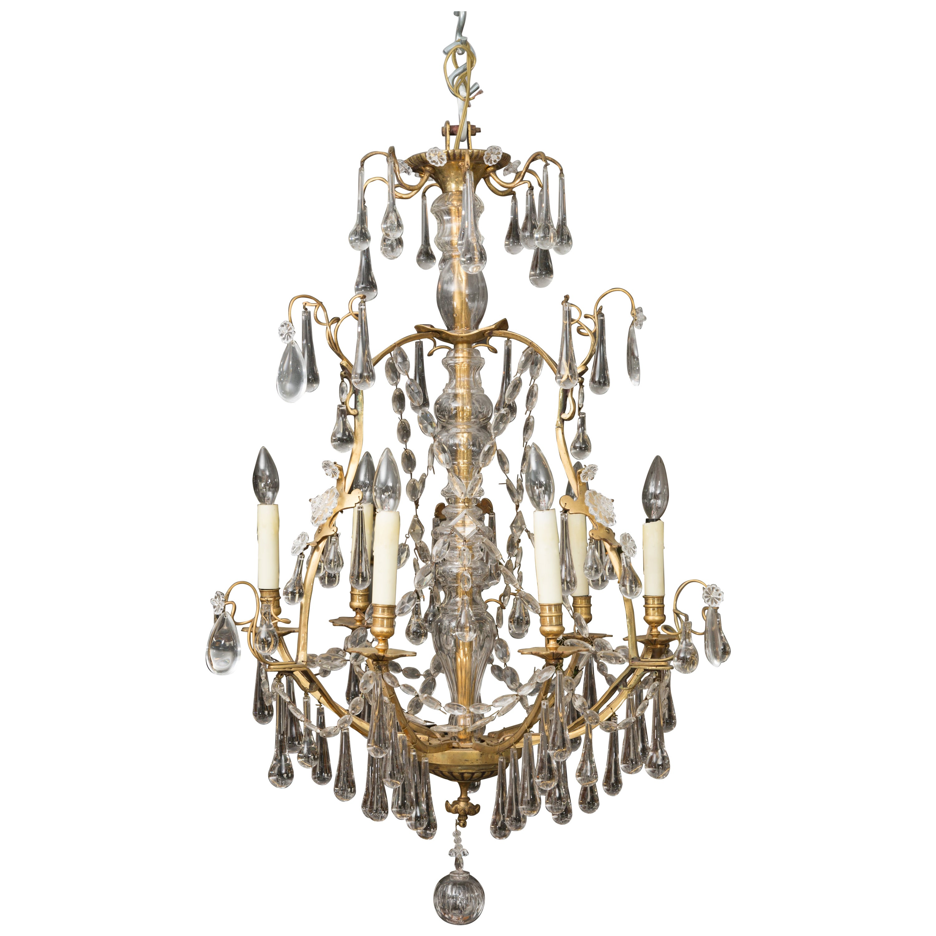 French Birdcage Chandelier with Crystal Drops