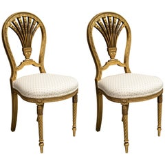 Late 19th Century Pair of Louis XV Style Giltwood Side Chairs