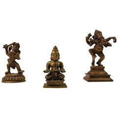 Trio of Antique Hindu God Figurines in Bronze, Maha Durga, Shiva and Ganesh