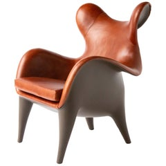 Johnny Wing Back Chair, Lounge Chair, Leather/Chocolate Resin, Mozer USA 2007/19