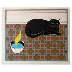 "Will Barnet Original Color Lithograph, circa 1980s, ""Cat and Canary"""