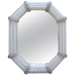 Murano Venetian White Clear Twisted Rod Floral Wall Mirror