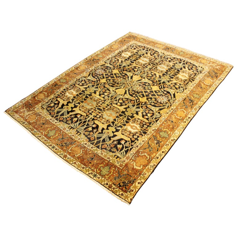 Rugs Made In India For Sale: Mid-Century Modern Rectangular Hand Knotted 100% Wool Area