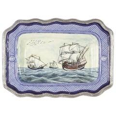Keramik und weißes Metall 'Alpaca' Galleon Tablett