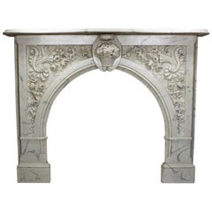Louis XV Style White and Veined Carrara Cultured Cast-Marble Fireplace Mantel