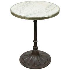 French Art Deco Iron Bistro or Cafe Table with Marble Top
