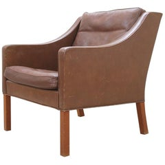 Børge Mogensen Vintage Leather Armchair Model 2207 Brown for Fredericia