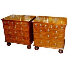 Ein Paar antike englische Intarsien Laburnum Austern Furnier Bachelor Truhen