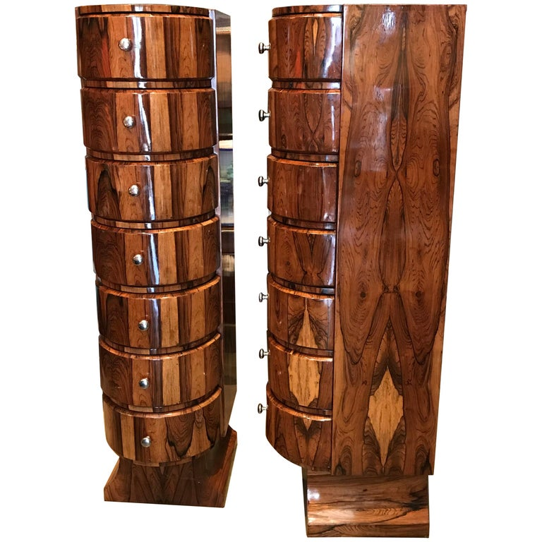 Pair of Art Deco Style Exotic Wood Semainier Manner of Jansen Chest of Drawers For Sale
