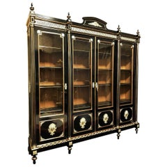 Napoleon III Rare Large Bookcase Cupboard in Boulle Marquetry, France