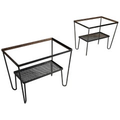 Pair of Vintage Hairpin Garden Patio End Tables Attributed to Salterini
