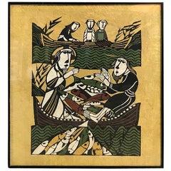 Sadao Watanabe Color Stencil Limited Print of Jesus Performing Miracle of Fish