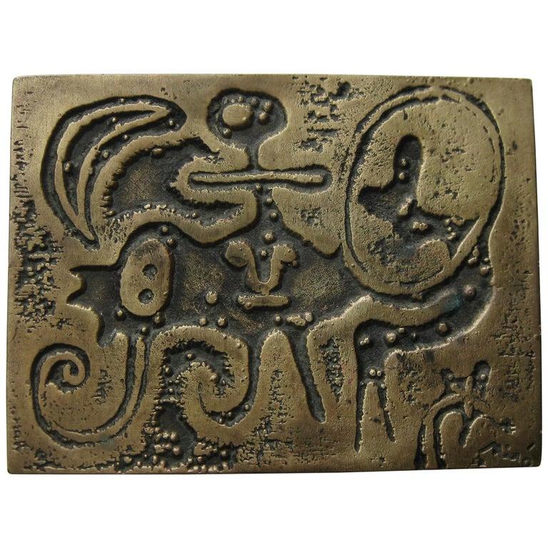 1947 Joan Miro Signed Bronze Relief Laurels Number 1 Art Plaque Sculpture For Sale