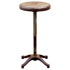 Antique Steel Stool with Distressed Patina, 1930s