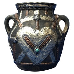 Vintage Handmade Moroccan Date Container with Silver and Copper Repousse Hearts