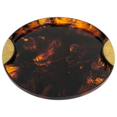 Round Tortoiseshell Serving Tray in Lucite and Brass by Guzzini, 1970s, Italy