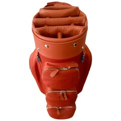Hermes Golf Bag Limited Edition Tangerine Color Buffalo Leather, Made in France