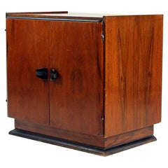 Art Deco Cabinet in Mahogany Veneer and Black Details Czechoslovakia, circa 1930