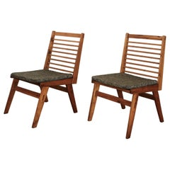 Pair of Constructivist Wood Slat Chairs