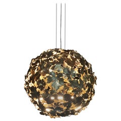 New Chandelier Pendant Ball Lamp in Bronze Featuring a Wine Leaves