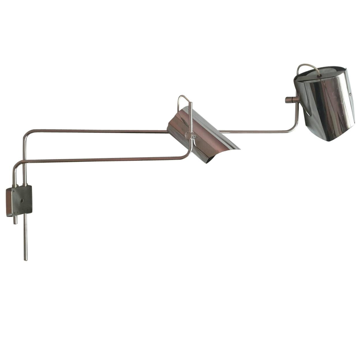 Rare and Large Chromed Wall Lamp, Italy, 1970s