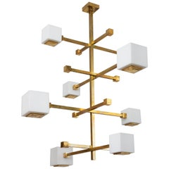 1970s Style Gilt Brass Chandelier with White Glass Cubes