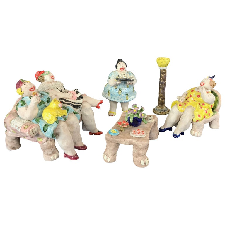 "Cynthia Hipkiss ""Four Ladies at Tea"" Five-Piece Ceramic Sculpture, 1987 For Sale"