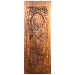 """Art Nouveau Carved Wood Panel after Alphonse Mucha's """"Repos de la Nuit"""""""