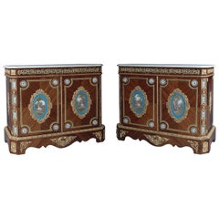 Very Fine Pair of Side Cabinets with Sèvres-style Porcelain Panels, circa 1860