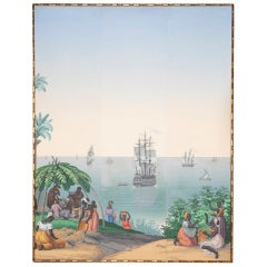 "Zuber, ""Brazil views"", Framed Wallpaper Panel, circa 1970"