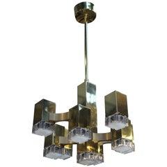 Brass Sciolari Chandelier with 9-Light Points, 1970s