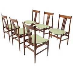 Italian Midcentury Dining Chairs with Green Seat, 1960s, Set of 6