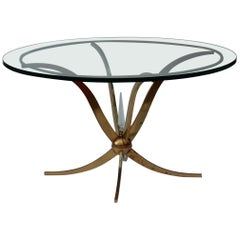 1940 Pedestal or Coffee Table in the Style of André Arbus in Polished Brass