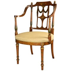 Fine Quality 20th Century Sheraton Revival Satinwood and Painted Open Armchair