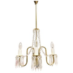 Empire Style Crystal Chandelier with Four Lights, 1950s, Austria