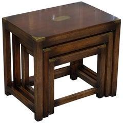 Lovely Rare Harrods London Mahogany Military Campaign Nest of Tables