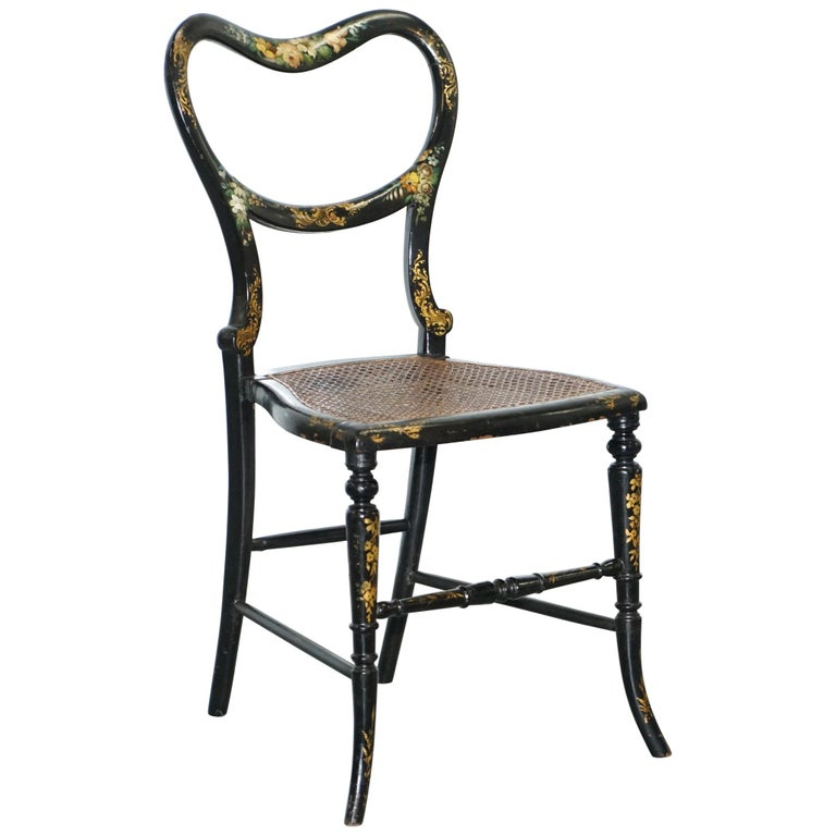 18th Century Georgian Rare Floral Hand Painted Chinoiserie Ebonised Chair For Sale