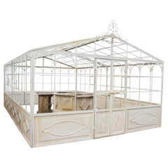 French Style Wrought Iron Greenhouse with Door and Windows in White Color