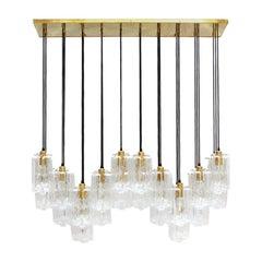 Contemporary Murano Glass and Brass Italian Suspension Lamp