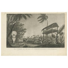 Antique Print of a Funeral Ritual by Cook, 1803