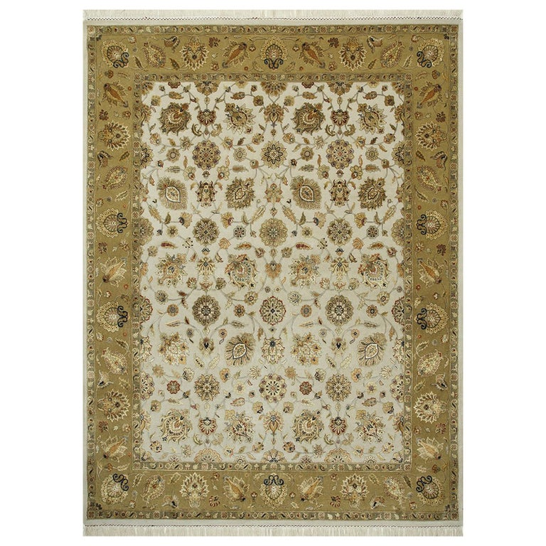 Oversized Kohinoor Rug Wool and Pure Silk Pile Greys and Greens For Sale