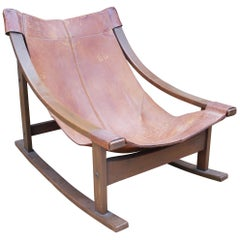 1950s Spanish Wood and Leather Rocking Chair