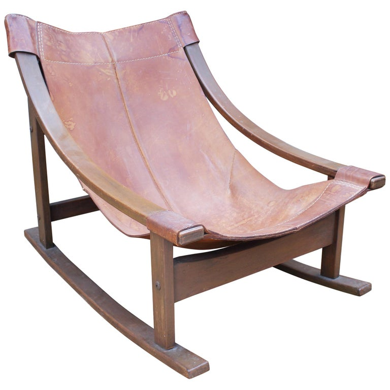 1950s Spanish Wood and Leather Rocking Chair For Sale