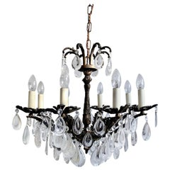 Early 1900s Ornate Brass Chandelier with Flat Pear Drops with Frosted Details