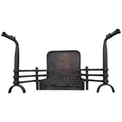 Hand Forged Arts & Crafts Era Wrought Iron Fireplace with Dragon Sculpture & Ash