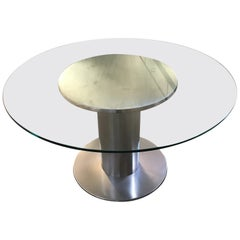Mid-Century Modern Italian Chrome Dining Table with Glass Top, 1970s