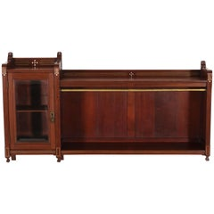 Dutch Mahogany Art Nouveau Arts & Crafts Wall Cabinet with Brass Inlay, 1900s