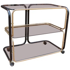 1960s European Vintage Two-Tone Metal Smoked Glass Drinks Trolley